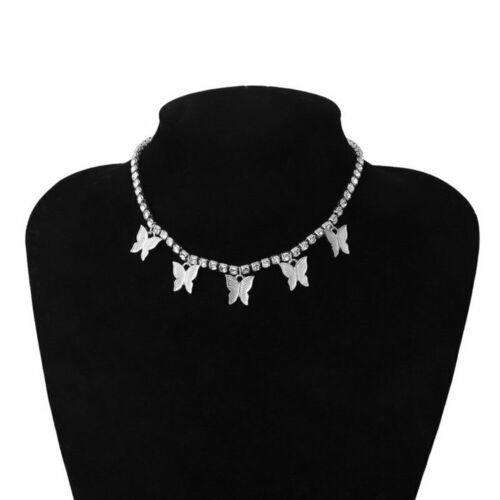 Silber Rhinstone Mode Kristall Schmetterling Anhänger Halskette Clavicle Choker