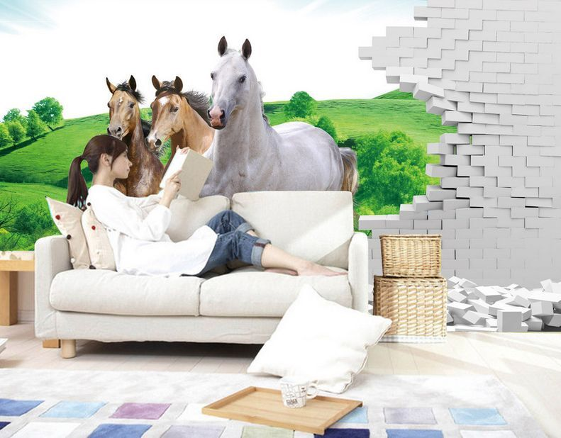 3D Forest grass horse 203 Paper Print Decal Wall Deco Wall Murals AJ WALLPAPER