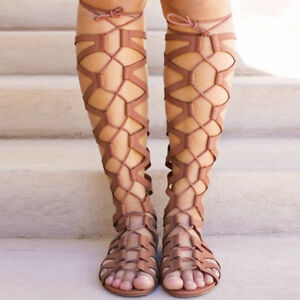 Women Gladiator Strappy Sandals Knee High Cut Out Zipper Ladies Flat Summer  #