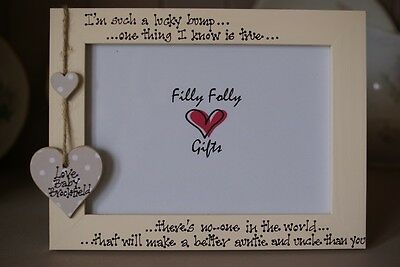 5 x 7 Inch Baby New Pregnancy Scan Wooden Photo Frame Personalised Uncle Gift