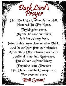 Satanic-Dark-Lord-039-s-Prayer-Rare-New-Age-Goth-Pagan-Pentagram-Magic-Devil-Spirit