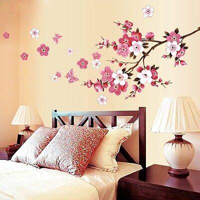 Pink Flowers Fairy Room Wall Art Stickers Vinyl Decals Mural Home Room Decor DIY