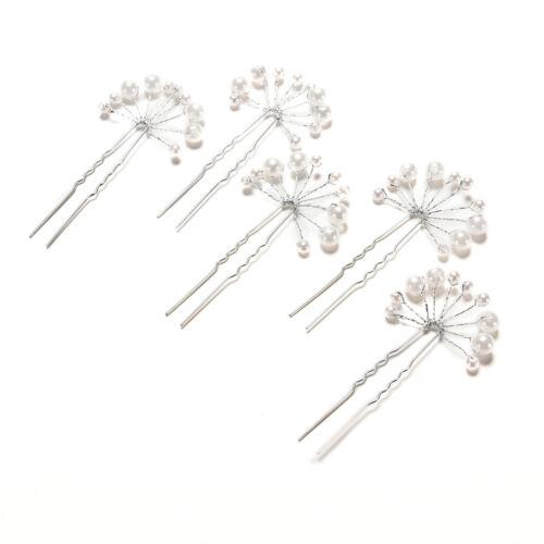 Elegant Women Bridal Faux Pearl Flower Hair Clip Comb Headband Hairpin EfjBRIC