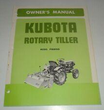 Kubota Fs850 Rotary Tiller Operators Owners Maintenance Manual Original