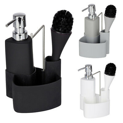 WENKO Spül-Set Empire Weiß mit Spülbürste Spülmittelspender Spülbürstenhalter