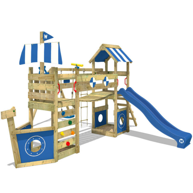 Parco giochi Altalena di legno per bambini con scivolo - WICKEY StormFlyer
