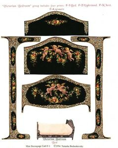 1-2-scale-Natasha-Beshenkovsky-039-s-Mini-Decoupage-Victorian-Collection-Bed