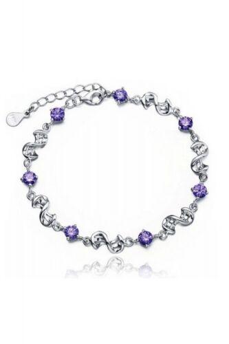 Q8W7 púrpura encanto BRACLETS para mujeres Plata Plateado Pulseras /& Brazaletes Pulsera