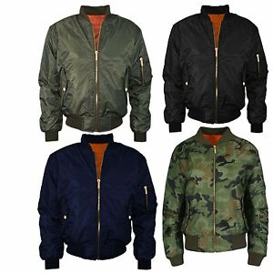 Womens Ladies Canvas Biker MA1 Camouflage Army Bomber Jacket Size 8-14