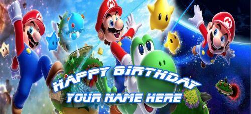 Birthday banner Personalized 4ft x 2 ft  Super Mario Bros Galaxy Yoshi Stars