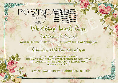 Tea Party Postcard Wedding Invitations