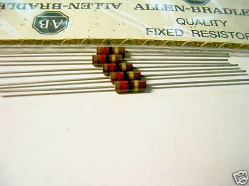5 Allen Bradley Carbon Comp Resistors 12 ohm 1/2W 5%