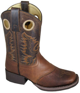 Brown-Embossed-Brown-Distress-Leather-Sq-Toe-Boot