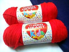 NEW DISCONTINUED Red Heart KIDS Yarn 2 - 5 oz Skeins Same Dye Lot RED