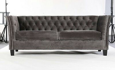 Excellent Modern Chesterfield Sofa Settee 3 Seater Grey Velvet Fabric Unemploymentrelief Wooden Chair Designs For Living Room Unemploymentrelieforg