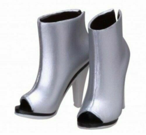 Sekiguchi Silver Open-Toe Ankle Boots for momoko Doll (New, in US)