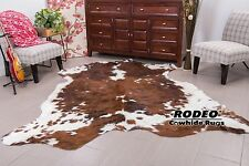 Superior quality brown tricolor hairy Cowhide Rug size approx 5x6