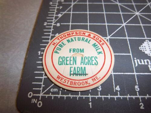Green Acres Farm Westbrook Maine H Thompson /& Sons Vintage Milk Bottle Cap