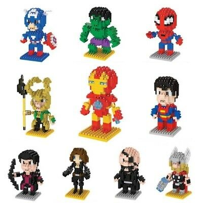 Micro Blocks Superhero Cartoon Series Marvel Hulk Figure Toy Hero Building Gift