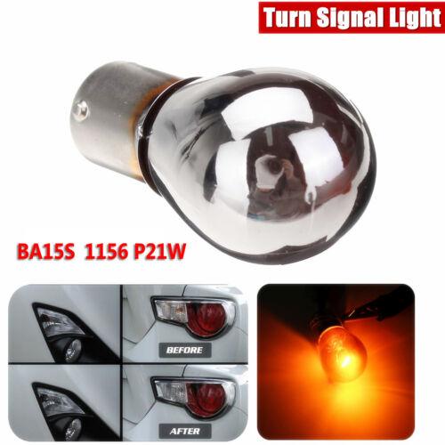 12V Chrome Sliver Amber Turn Signal Light Front Indicator Bulb 581 BA15S P21W