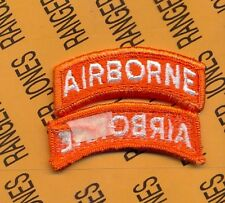 US ARMY AIRBORNE TAB ORANGE & WHITE USSTRATCOM patch m/e