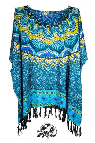 Kaftan Poncho Tunika Strandkleid Einheitsgröße Sarong stoff Bluse PO 006--