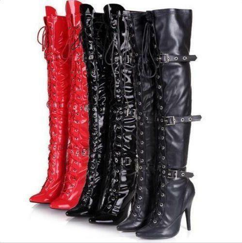 Womens High Heel Stilettos Over Knee Thigh Boots Lace Up Buckles Nightclub shoes