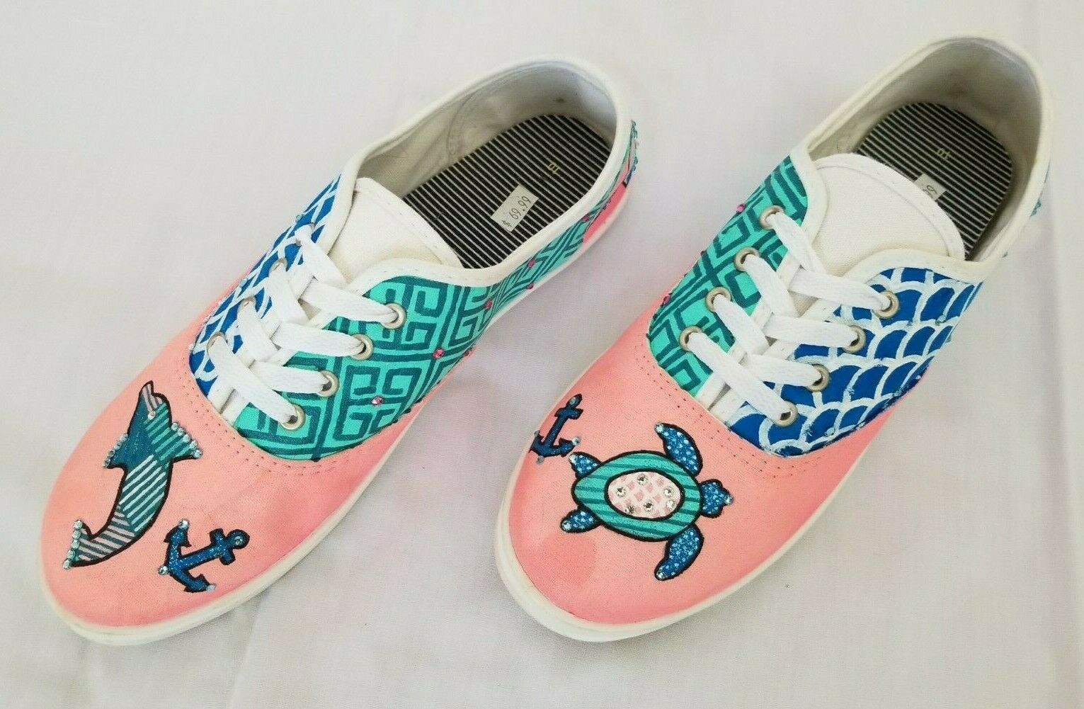 Womens Size 10 Multicolor Hand Painted and Decorated Canvas shoes preowned
