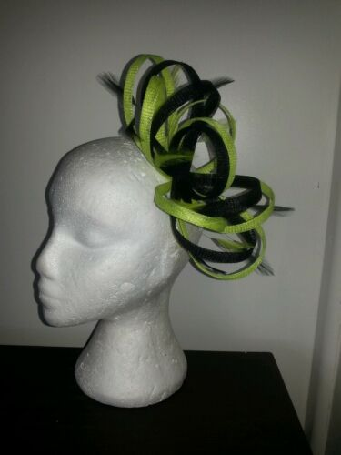 Black and citrus lime green fascinator for wedding//races special occasion
