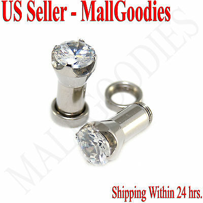 1255 Screw-on fit Clear Solid CZ Prongs Ear Plugs Retainers 6 Gauge 6G 4mm