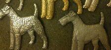 VINTAGE 60s Silver plated KENART ART DECO WIRE FOX,WELSH TERRIER DOG PIN brooch