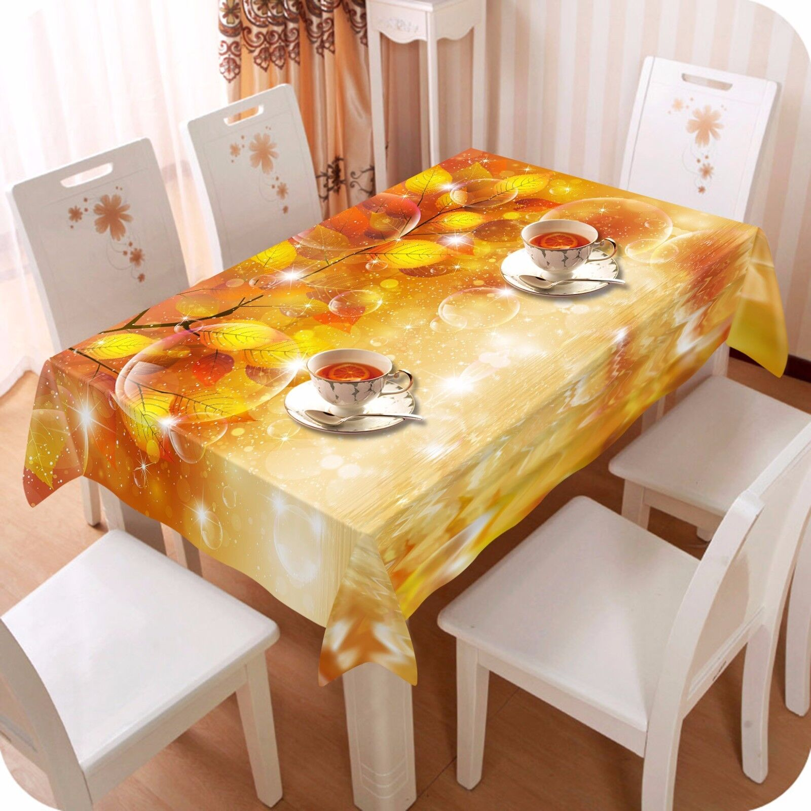 3D Leaf Bubble Tablecloth Table Cover Cloth Birthday Party AJ WALLPAPER UK Lemon