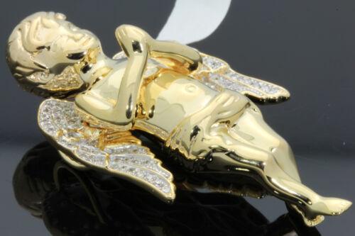 .49 CARAT 2 INCH STERLING SILVER YELLOW GOLD PLATED DIAMOND ANGEL CHERUB PENDANT