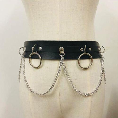 Punk faux leather belt metallo catena LASER cerchio anelli in vita cinturino STREET Dance Uk