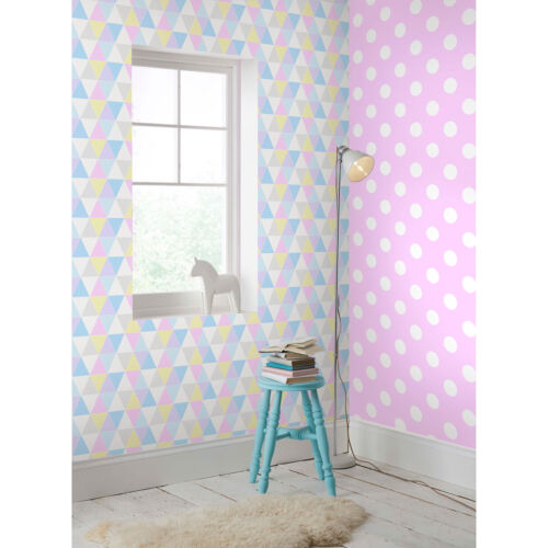 Superfresco Easy Dotty Spot Print Pink//White Wallpaper Was £15