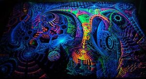 Details About Ultraviolet Neon Blacklight Glow Trippy Psychedelic Wall Hanging Uv Tapestry