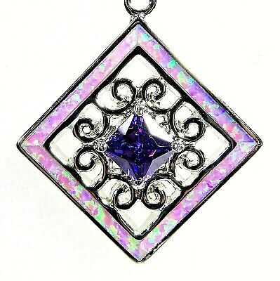 """Silver 925 SF Pendant Pink Lab Fire Opal DOUBLE CIRCLE  1.25/"""""""