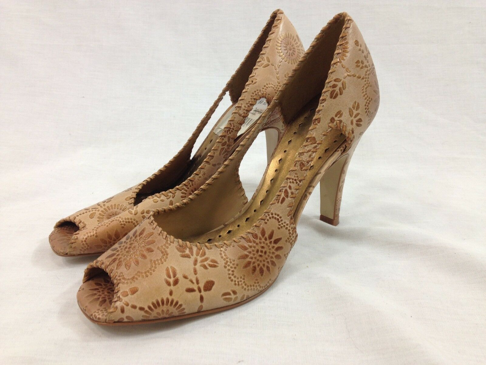 BCBGirls Shoes Womens 7.5 ELYAS Brown High Heel Open Toe Slip On Floral Print