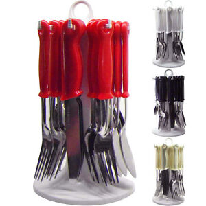 LOOP-24PC-CUTLERY-DINNER-SET-RACK-METAL-FORKS-TEASPOONS-TEA-SPOONS-DRAINER-STAND