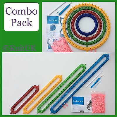 4 Long Looms Set of 8 MultiColoured KnitUK Knitting Loom Combo Pack: 4 Round