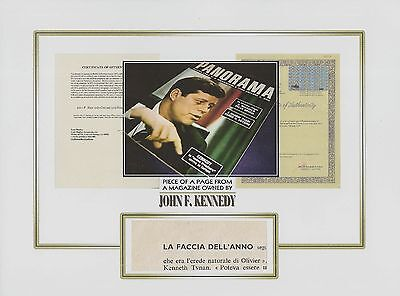 KENNEDY personal owned MAGAZINE page piece President JFK relic swatch JOHN F