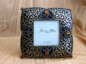 Ornate-Jeweled-Bronze-amp-Burgundy-Enamel-Frame-Ashleigh-Manor-New-Old-Stock