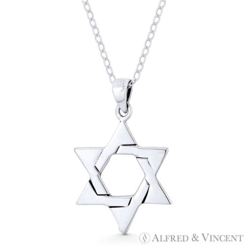 Star of David Jewish Magen Charm Oxidized .925 Sterling Silver Necklace Pendant