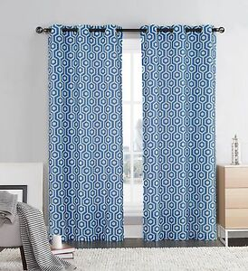Blue Ivory Two Piece Window Curtain Panels Grommets