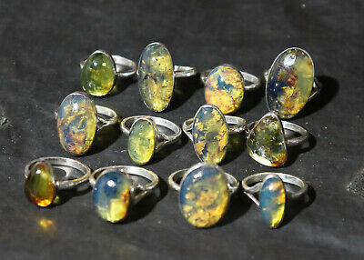 Outstanding Dominican Natural Clear Royal Blue Amber .925 Sterling Silver Ring #7