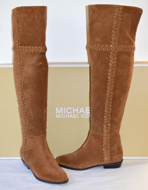 1091cbf09b2 New  395 Michael Kors Malin Boot Dark Caramel Brown Suede Over the Knee  Boots