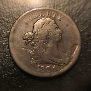 1804 Plain 4 No Stems Draped Bust Half Cent F Fine Cohen Variety Type Coin 1c