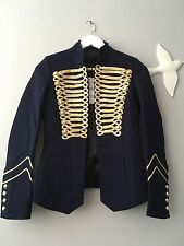 Zara AW16  Navy Military Style Blazer Jacket With Golden Toggles Size XS Uk 6