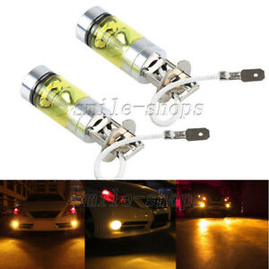 2pcs-H3-3000K-Amber-100W-20-SMD-LED-Bulbs-For-Car-Fog-Light-Driving-Lights-DRL