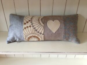 Luxury shabby chic chenille panel cushion with leather appliquÉ